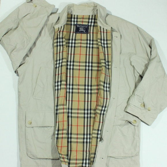be7c8be48 Burberry Jackets & Coats   Vtg Jacket Nova Plaid Check Tan Harringto ...